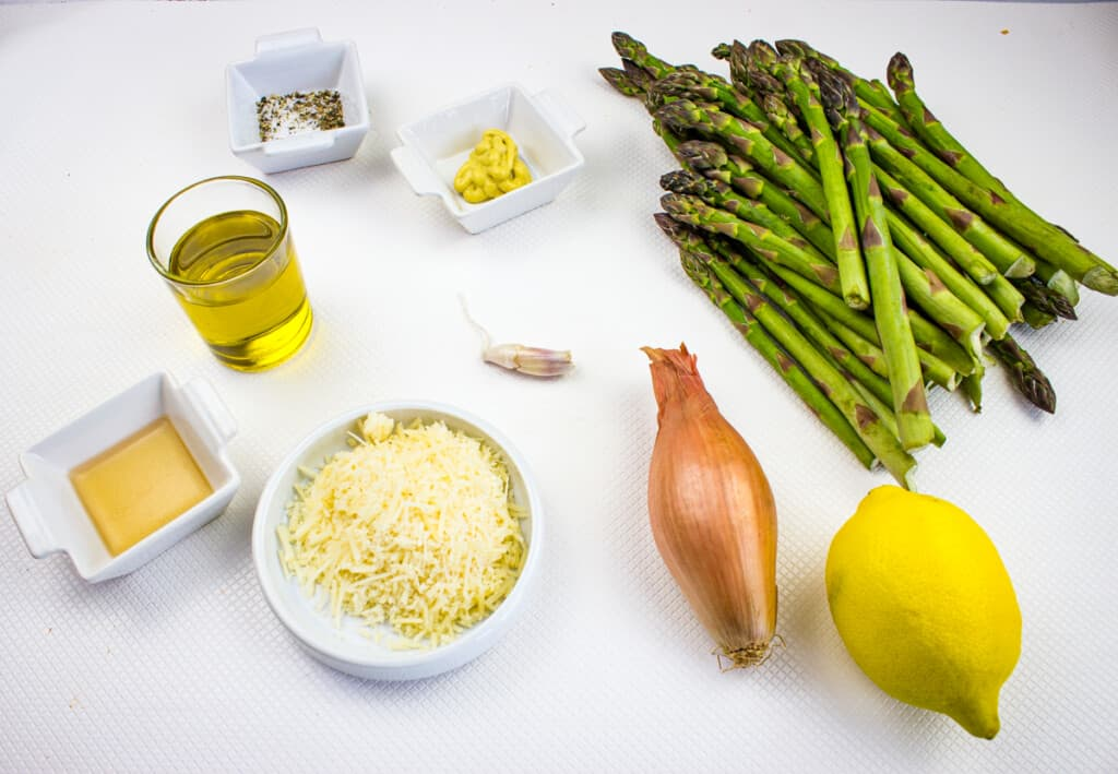 ingredients to make cold asparagus salad with lemon and parmesan