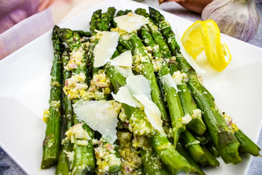 cold asparagus salad with lemon and parmesan