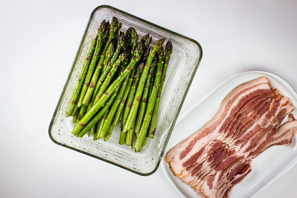 asparagus and bacon at room temperature
