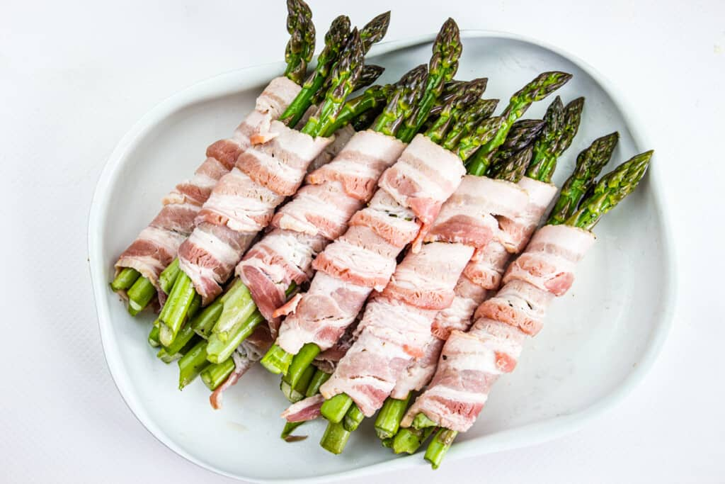 bacon-wrapped grilled asparagus ready for grill