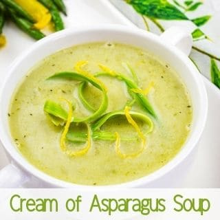 cream of asparagus soup in a bowl