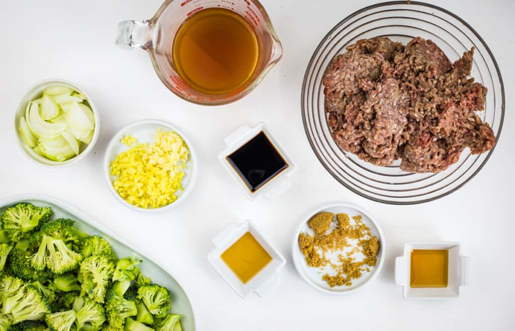prepped ingredients to make keto ground beef and broccoli