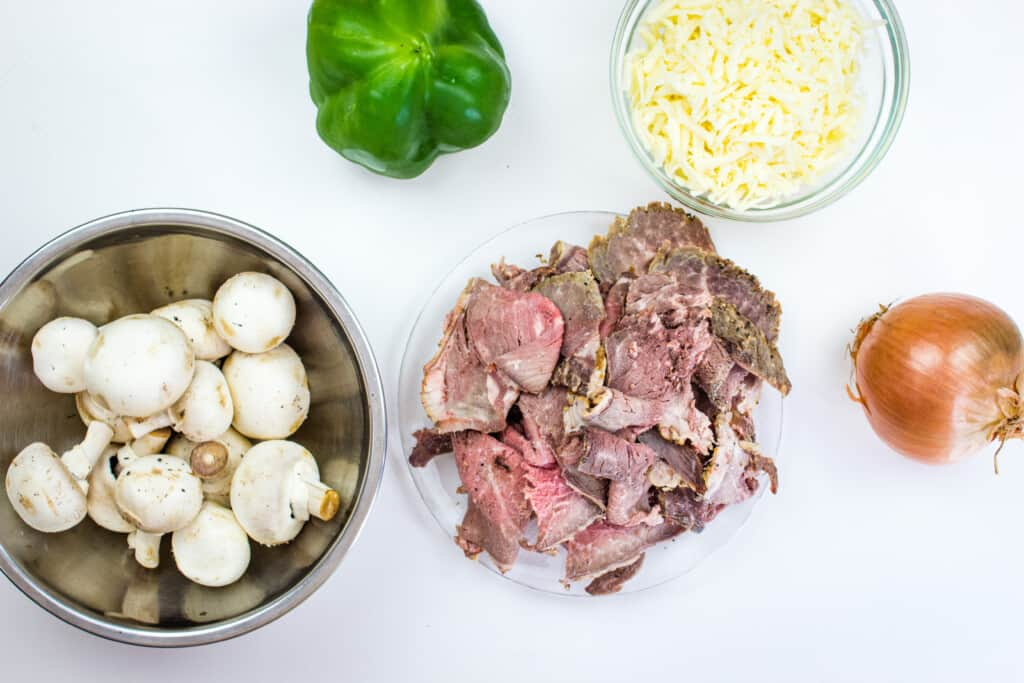 ingredients to make keto philly cheesesteak chaffles