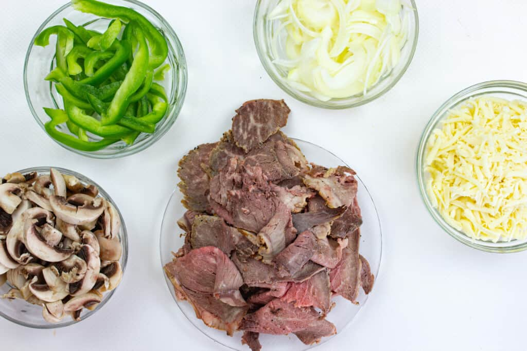 prepped ingredients to make keto philly cheesesteak chaffles
