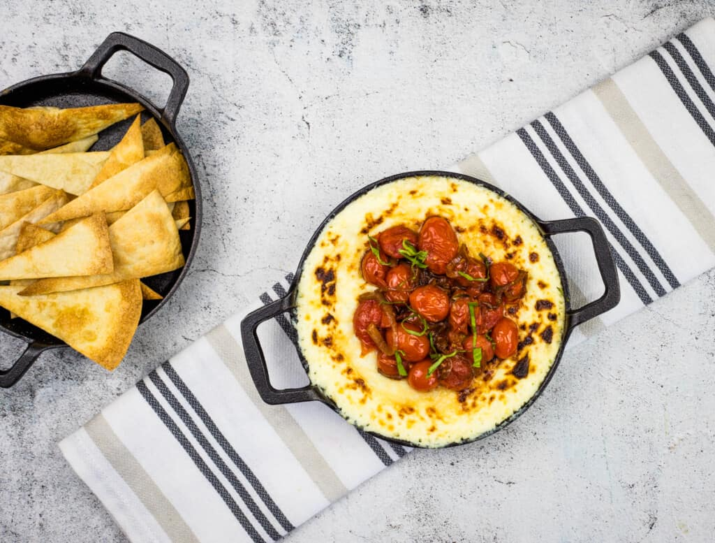 baked ricotta dip with parmesan and tomatoes