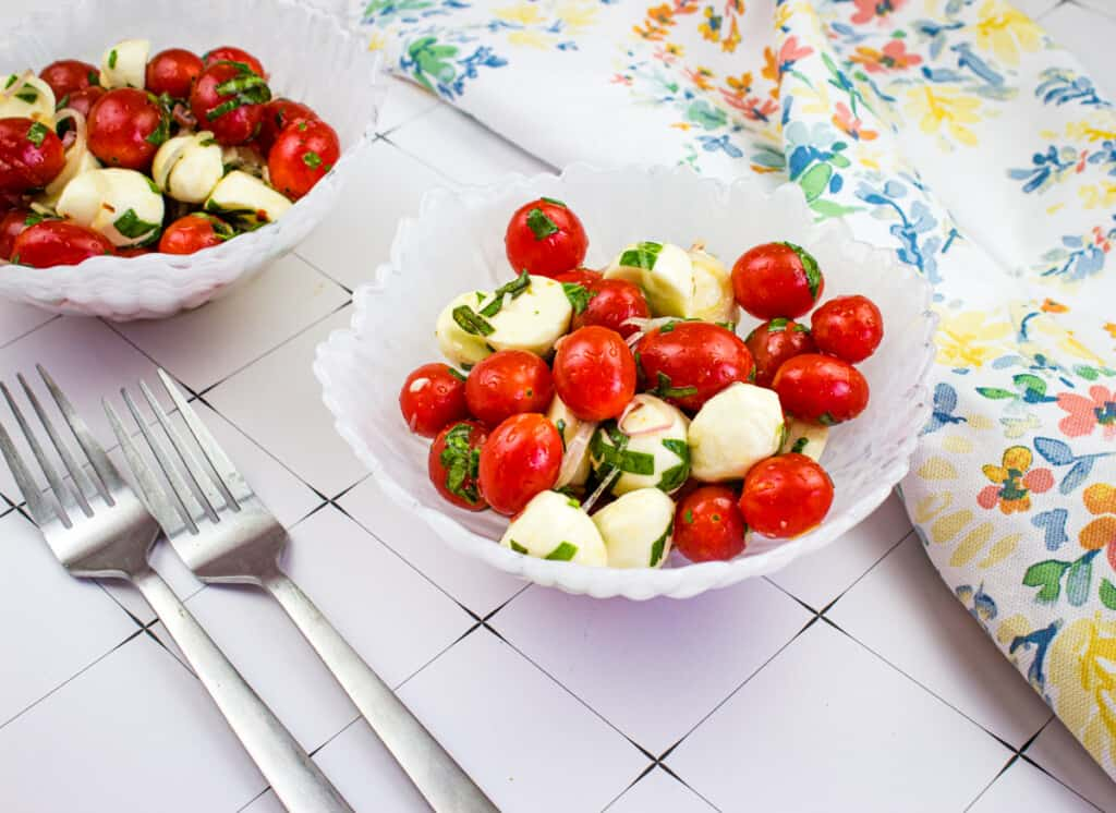 keto caprese salad in a bowl