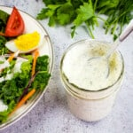 Dill pickle ranch dressing in a jar