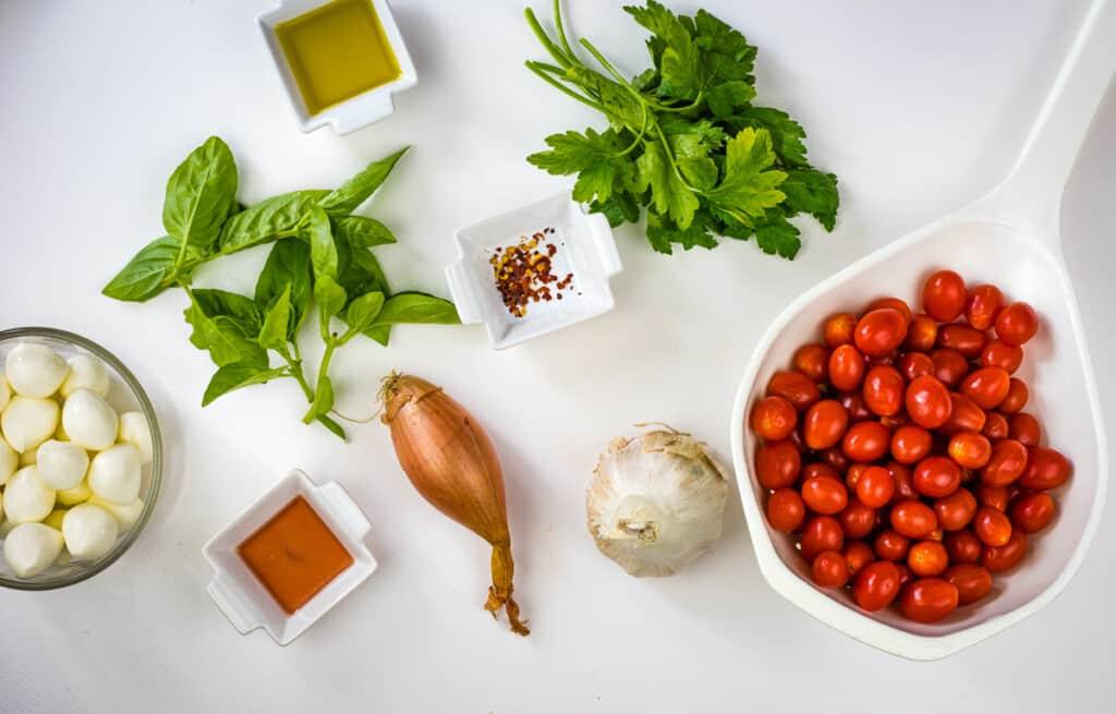 Ingredients to make keto caprese salad.