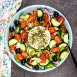 keto greek salad in a bowl
