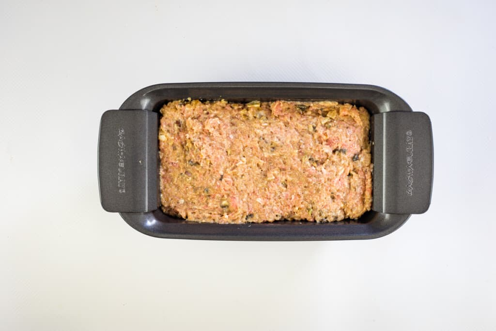 everything in a meatloaf pan and ready for oven