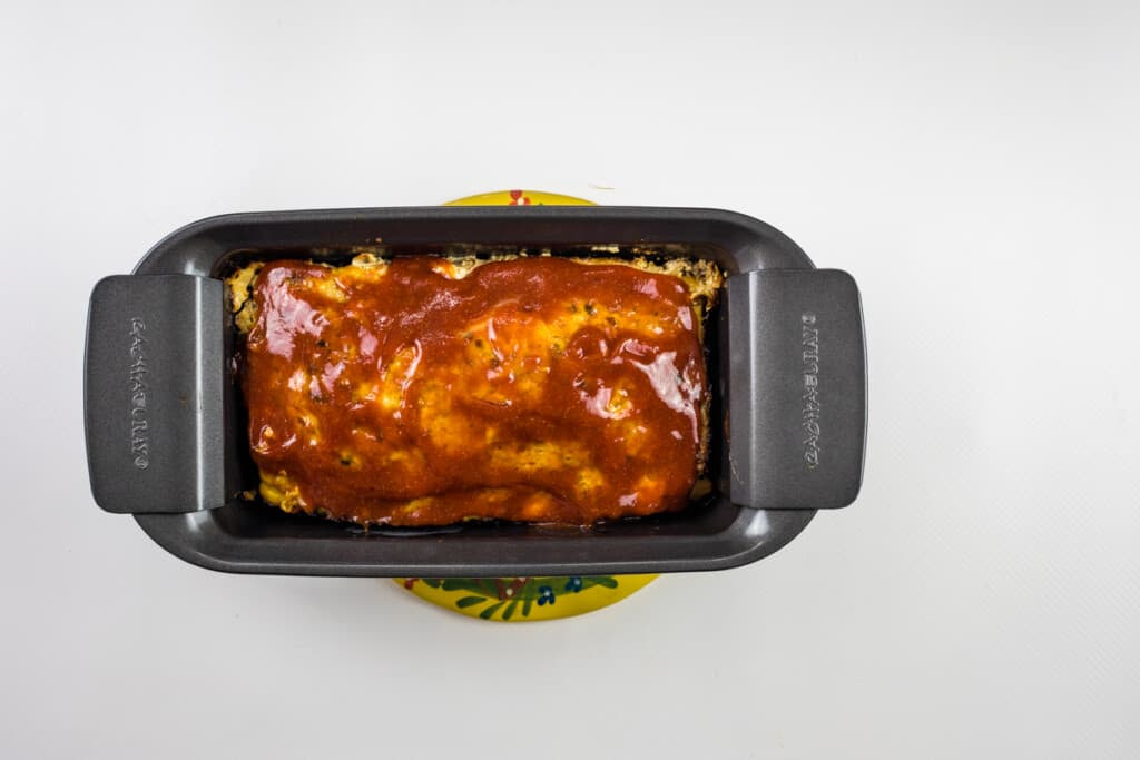 meatloaf topped with sauce