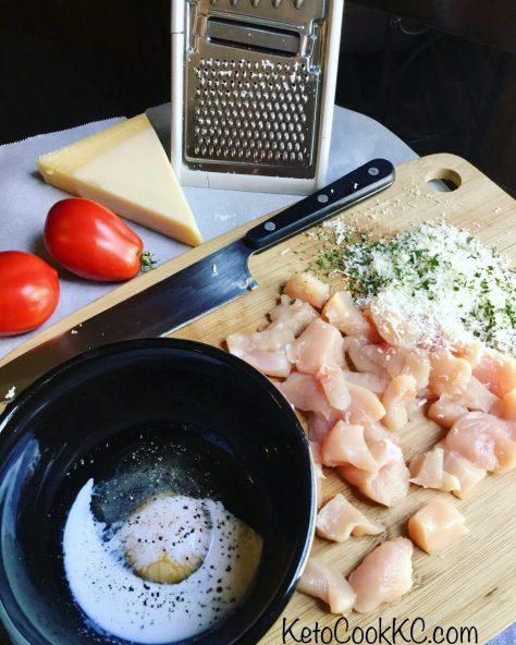 Gluten-free parmesan chicken for kalamata keto salad with feta
