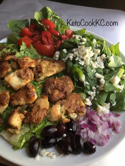 kalamata keto salad with feta and parmesan chicken