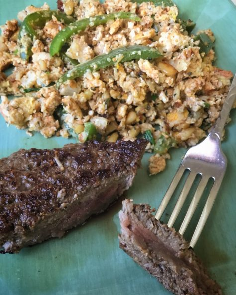 Hemp Hearts added to scrambled eggs with steak