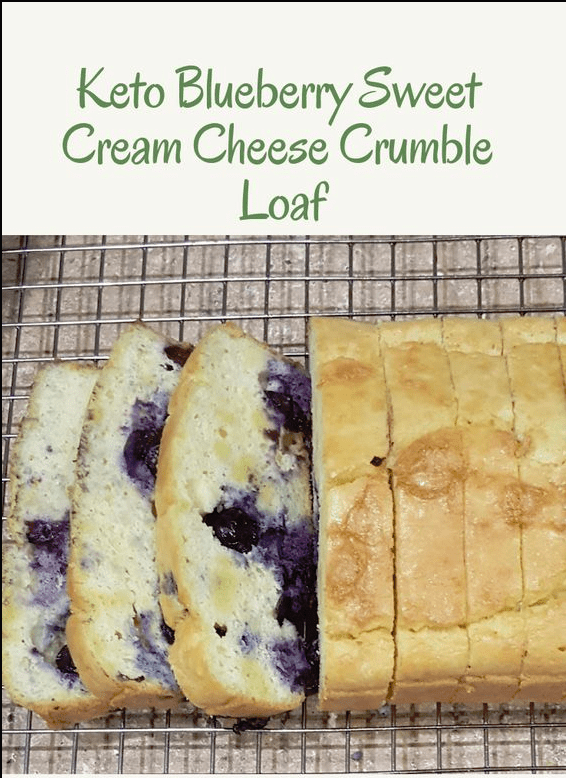 Keto Blueberry Sweet Cream Cheese Crumble Loaf