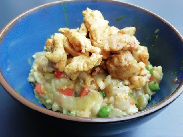 Kip-kerrie risotto met groenten