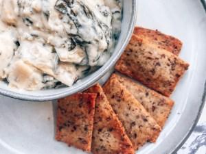 Spinach + Artichoke Dip with Keto Cheese Crisps