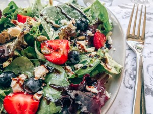 Strawberry + Goat Cheese Salad with Lavender Balsamic