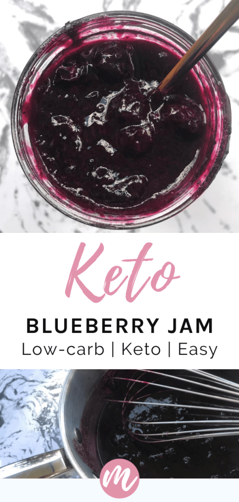 blueberry jam in a mason jar with a spoon