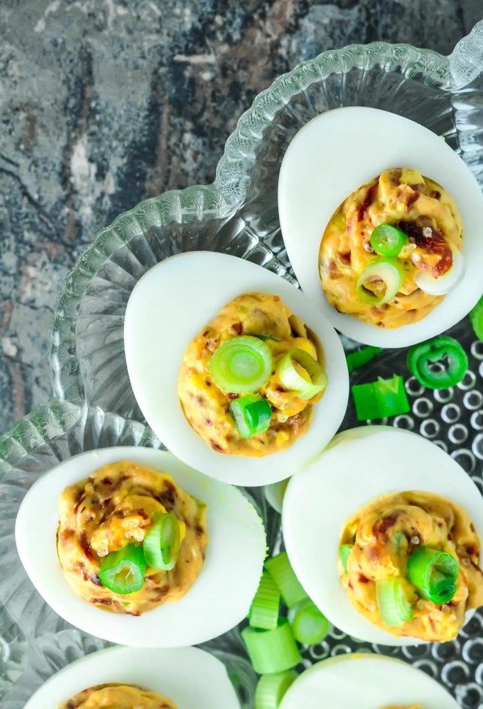 Bacon & Sun Dried Tomato Deviled Eggs - BLT Deviled Eggs Recipe #bacon #sundried #tomato #green onion #deviled #hardboiled #eggs #keto #lowcarb #ketogenic #atkins