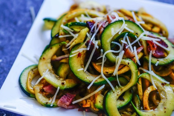 Summer Squash Zoodles with Bacon [Recipe] #keto #ketogenic #recipe #zoodles #zucchini #summersquash