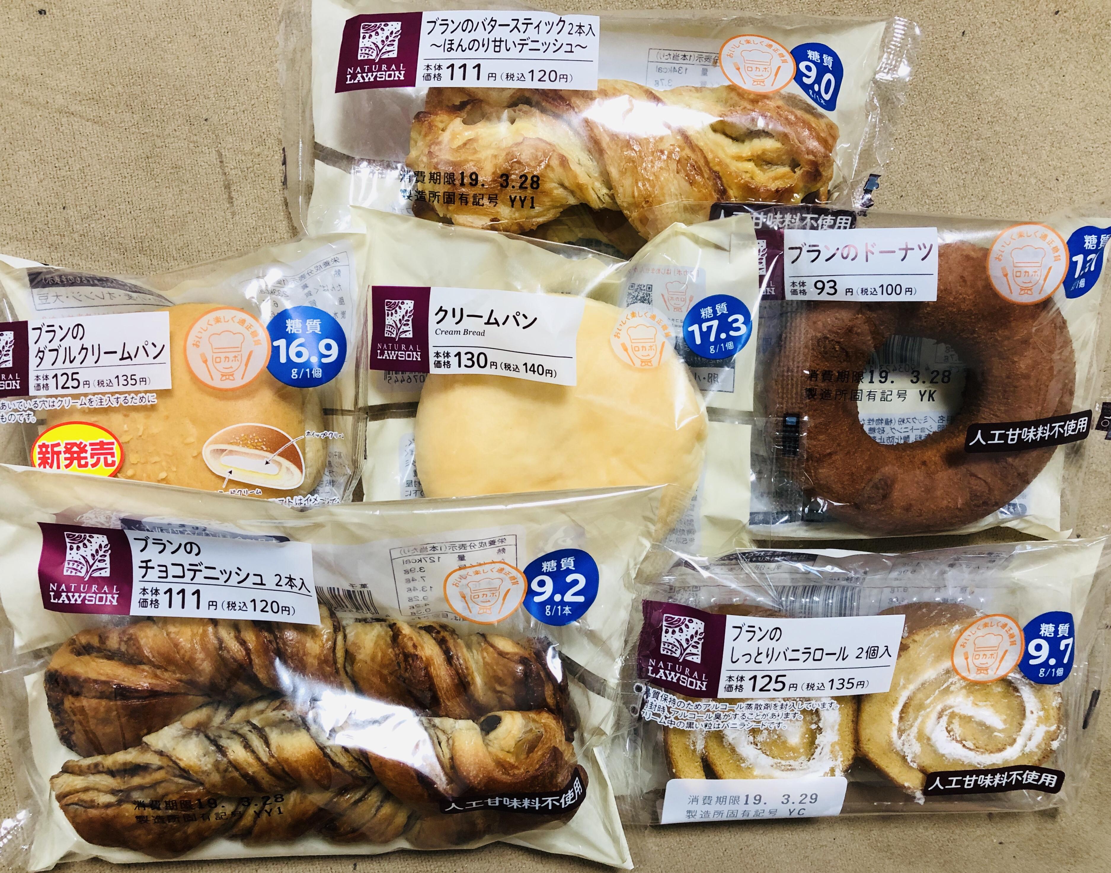 【食べ比べ】ローソンの糖質の低い菓子パン6種類