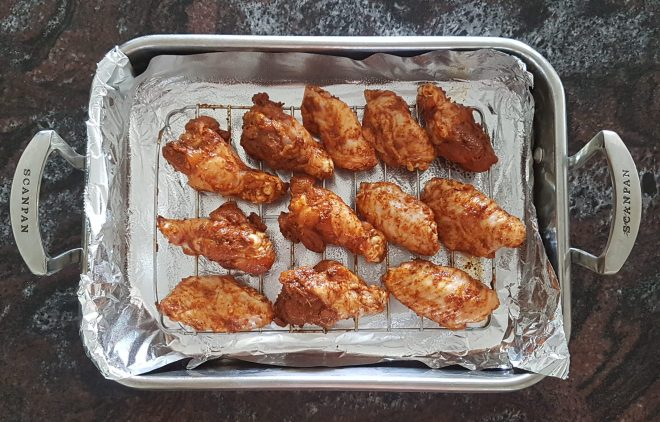 Ensure wings aren't touching each other on the baking rack