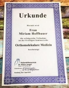 Urkunde Orthomolekulare Medizin