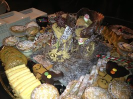 This is the dessert buffet at the Christmas Party 2012... it's like a chocolate castle in the middle.