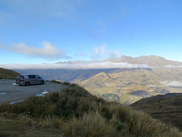 Our van and, more importantly, a stop on the gorgeous road between Wanaka and Queenstown.