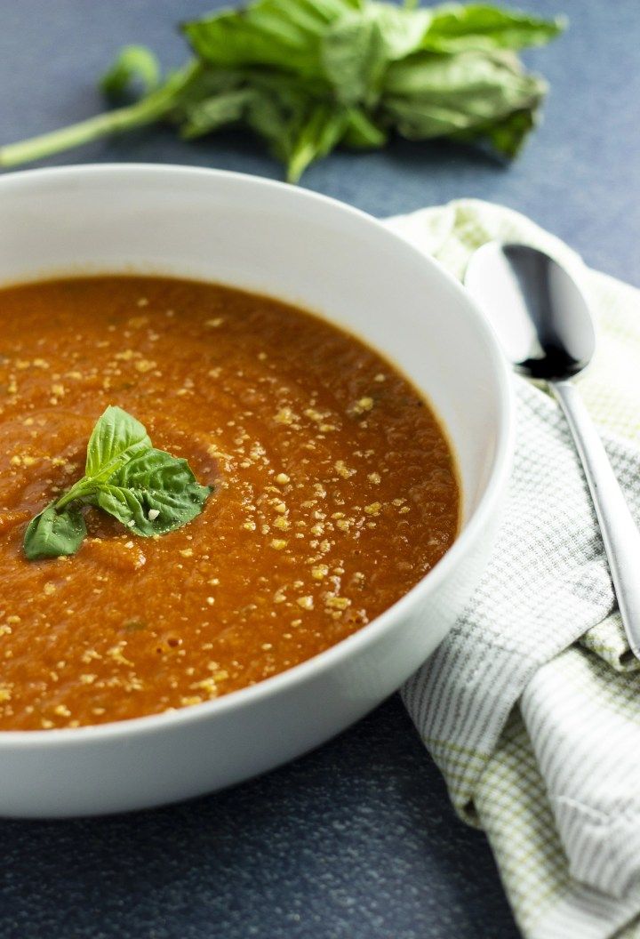 A warm and hearty tomato soup fortified and thickened with cannellini beans. Perfect for a cold day!