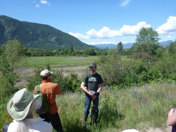 Neil Fletcher (BC Wildlife Federation) explains the importance of wetlands in watersheds at Boothman's Oxbow - Spring 2013