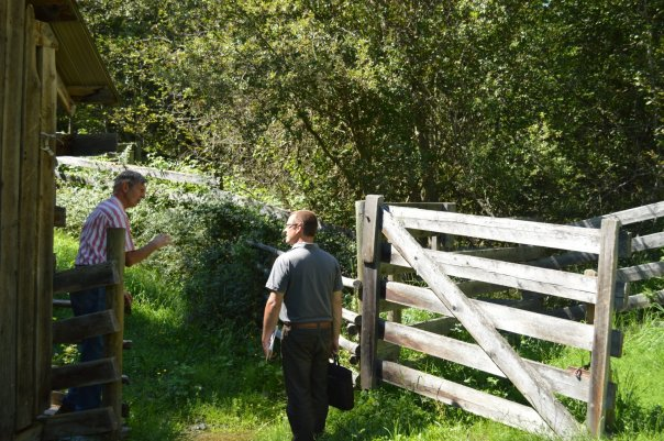 Forester, rancher and land steward Fred Marshall instructs Graham Watt on the ins and outs of riparian protection (Cavan Gates photo).