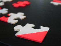 jigsaw decorations in white and fluoro