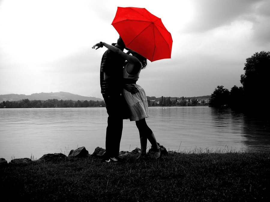 love under a red umbrella