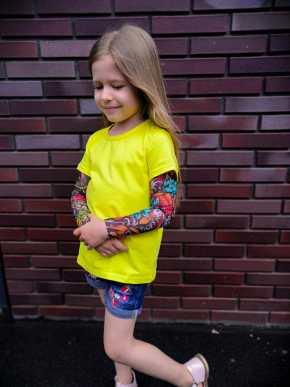Желтая футболка с тату рукавами SAM PHILLIPS Japan (детская) купить