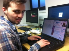 """My new housemate @finmilligan ready to hack the #qmelections #votesarwar"" (via @keumars)"