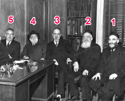 "1. Rav Dovid Lifschitz, Suwalker Rav, 2. Rav Moshe Shatzkes, Lomza Rav, 3. Rav Yosef Dov Soloveitchik, R""Y RIETS, 4. Rav Chaim Heller, R""Y RIETS, 5. Dr. Shmuel Belkin, Presiden of RIETS"