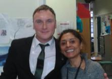 """Kevin with Veena Torchia, manager for accredited learning at the Crisis Skylight Cafe - just after his talk to Crisis staff and clients. """"Great place and great meeting everyone!"""""""