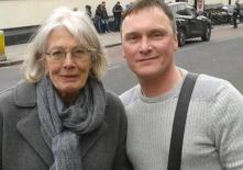 With actress, Vanessa Redgrave, outside HMP Pentonville campaigning against the Government decision to ban books being posted into prisoners