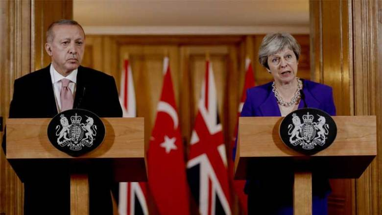 Turkish President Erdogan and British Prime Minister Theresa May