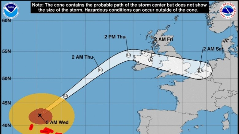 Hurricane Lorenzo Sets Sights on UK & Ireland