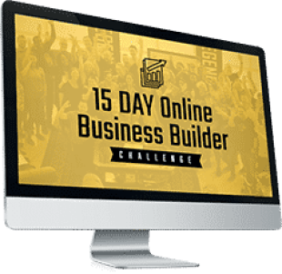 computer monitor with gold picture with words of 15 day online business builder challenge