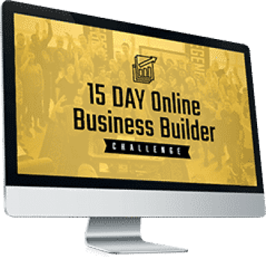 picture of computer monitor and thew words 15 day online business builder challenge