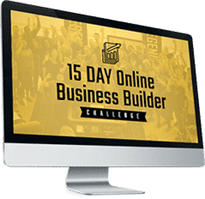 picture of computer monitor with gold colors and words 15 day online business builder challenge