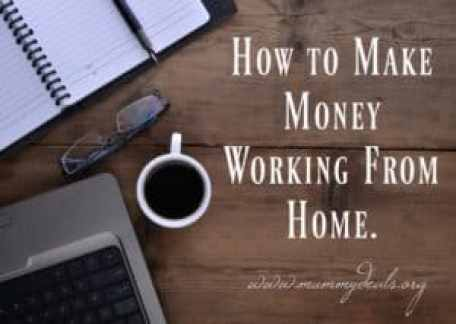 Picture with words how to make money from home, glasses, coffee cup, notepad and computer