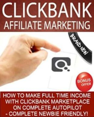 picture with words about Clickbank marketing red color and white color with a pointing hand