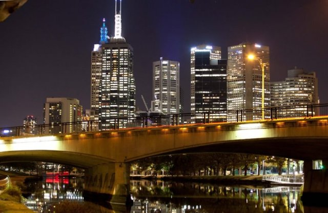 Melbourne CBD by night - from the Banks of the Yarra River