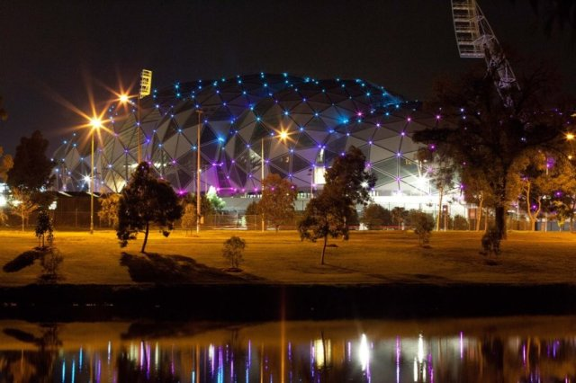 The AAMI Sporting Centre and its twinkling lights changes colour