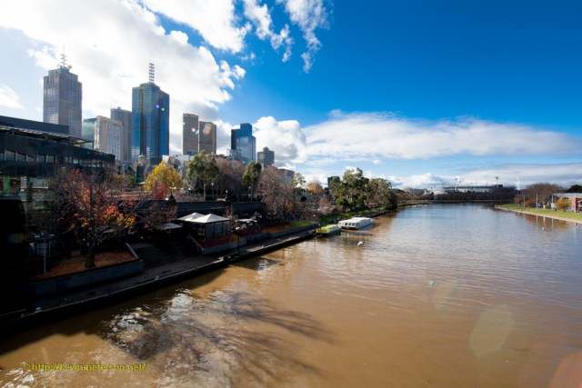 Yarra River always muddy - looking towards the Rod Laver Arena